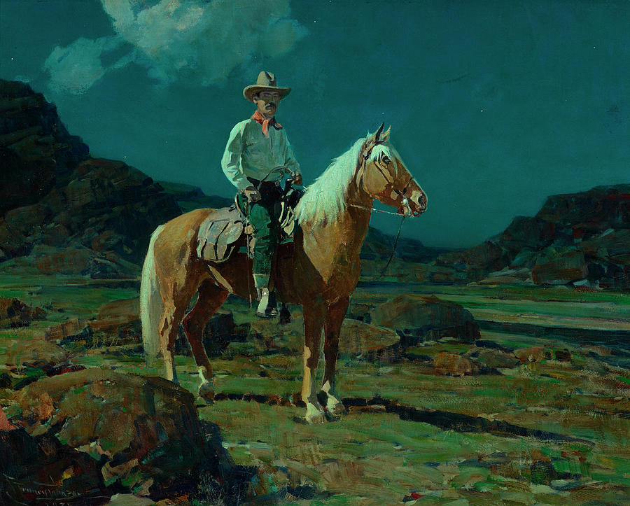 Moonlight Painting - Moonlight On The Ranch by Frank Tenney Johnson