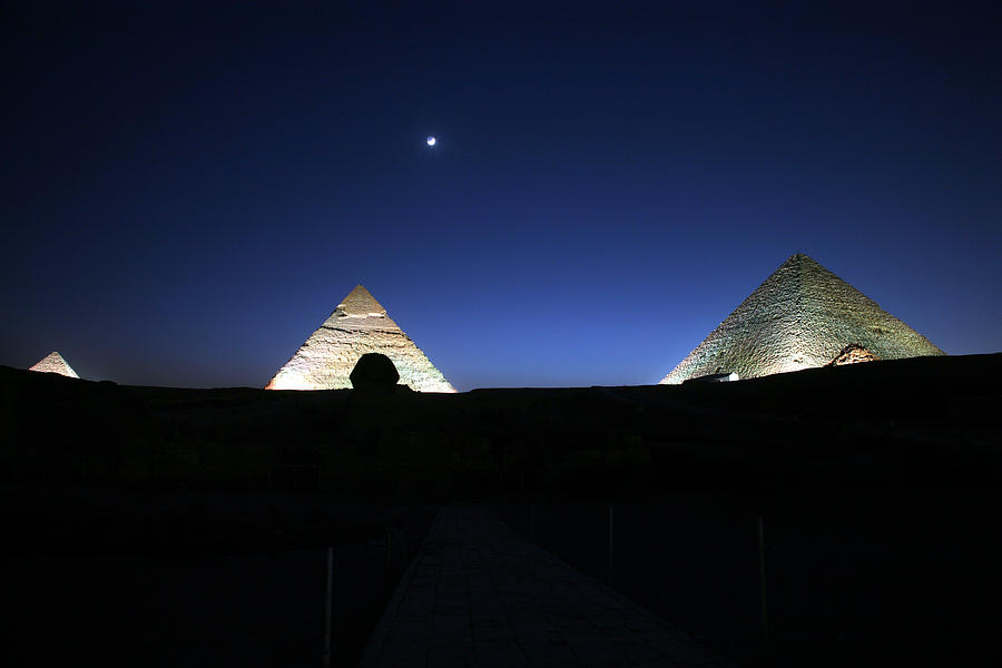 Moonlight Photograph - Moonlight Over 3 Pyramids by Donna Corless