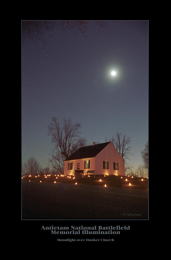 Church Photograph - Moonlight Over Dunker Church 96 by Judi Quelland