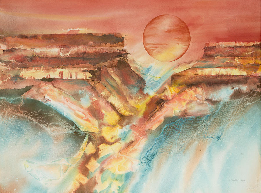 Grand Canyon Painting - Moonlight Over The Grand Canyon by Tara Moorman