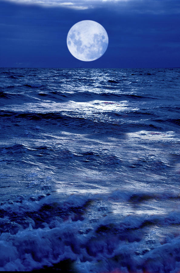 Moon Photograph - Moonlight Over The Ocean by Christian Lagereek