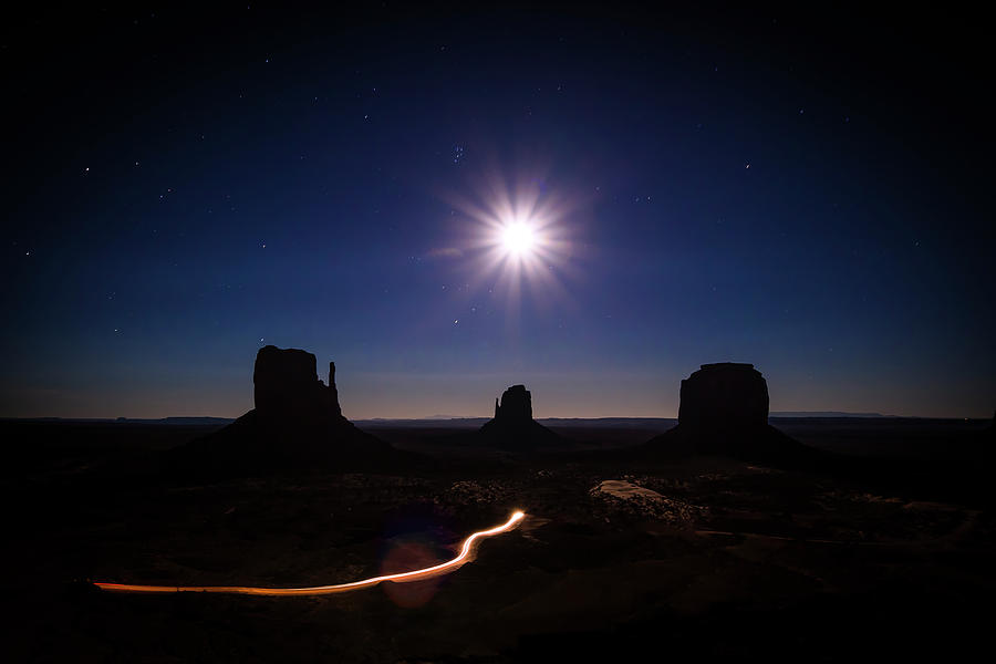 Aluminium Photograph - Moonlight Over Valley by Edgars Erglis