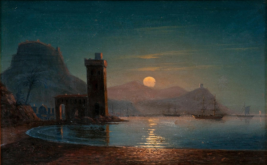 Ivan Konstantinovich Aivazovsky Painting - Moonlight Reflecting On Water by Ivan Konstantinovich Aivazovsky