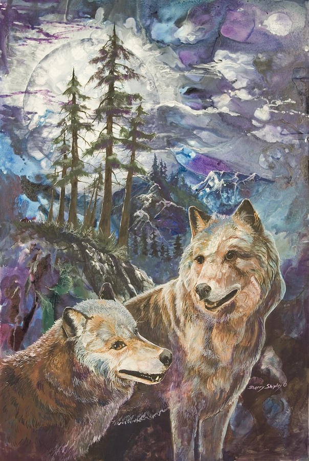 Wolf Painting - Moonlight Rendezvous by Sherry Shipley