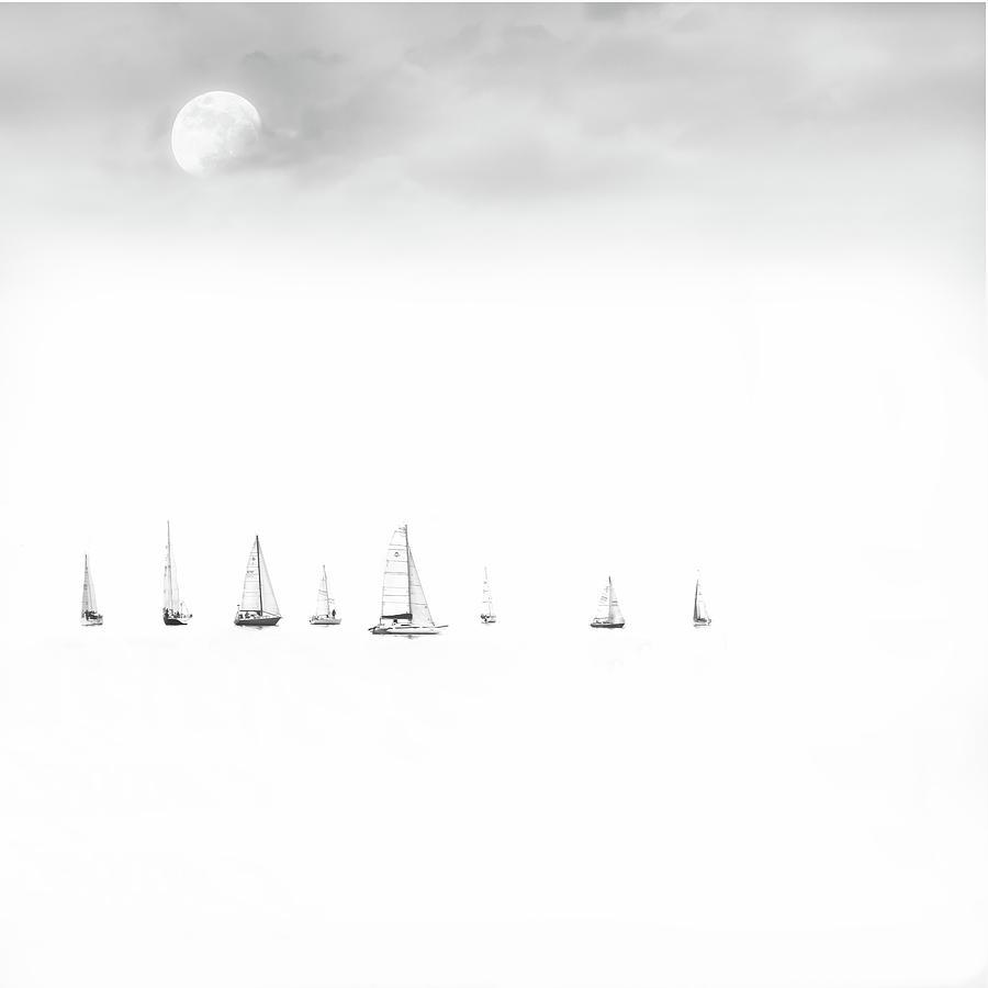 Regatta Photograph - Moonlight Sail by Andrea Kollo