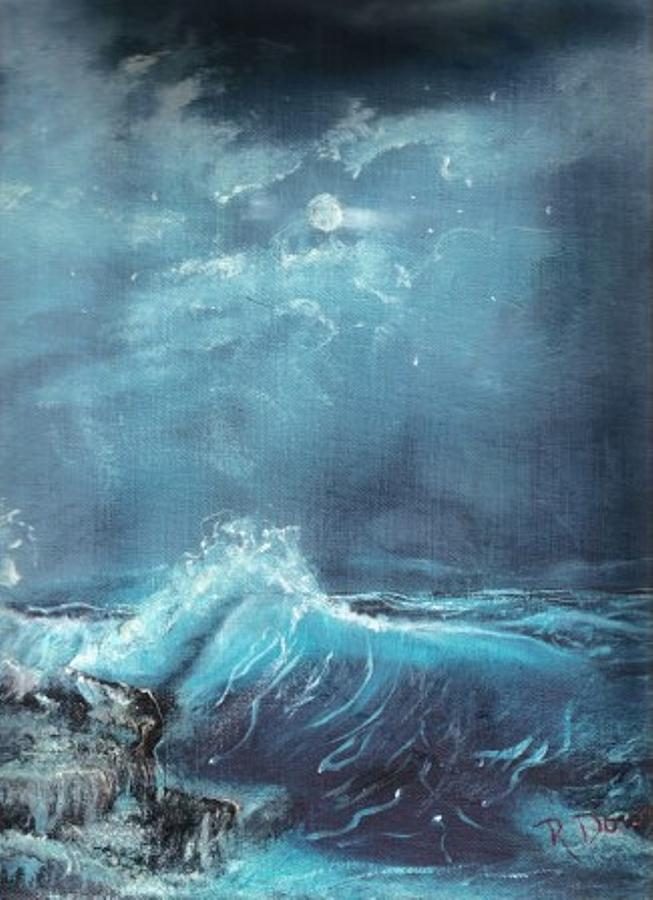 Moonlight Surf Painting by Raymond Doward