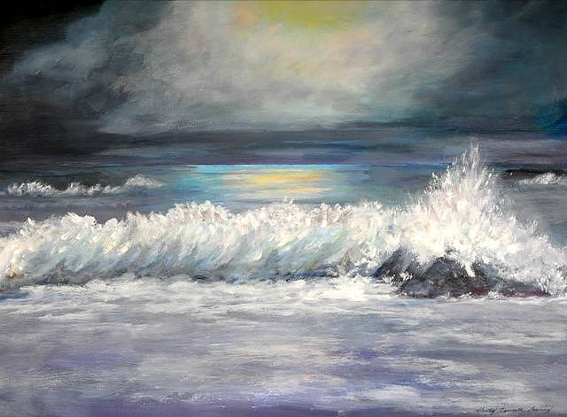 Oceanscape Painting - Moonlight Surf by Shirley Lawing