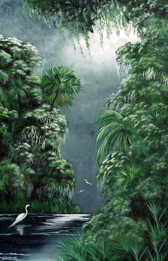 Swamp Painting - Moonlight  Swamp by Darlene Green