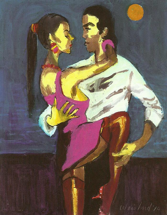 Tango Painting - Moonlight Tango 3d by Harry  Weisburd