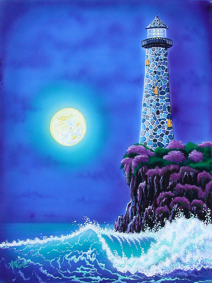 Lighthouse Painting - Moonlight Vigil by Angie Hamlin