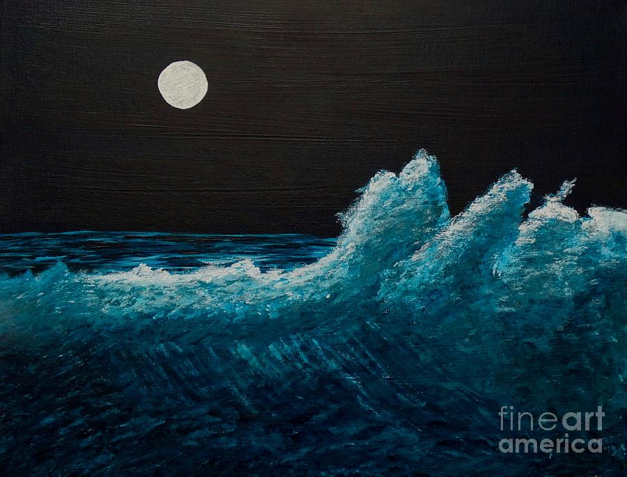 Artwork - Moonlight Waves - Acrylic Painting
