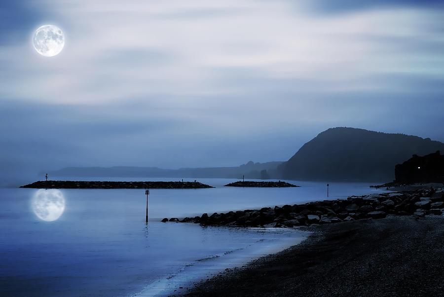 Atmospheric Photograph - Moonlit Beach  by Jaroslaw Grudzinski