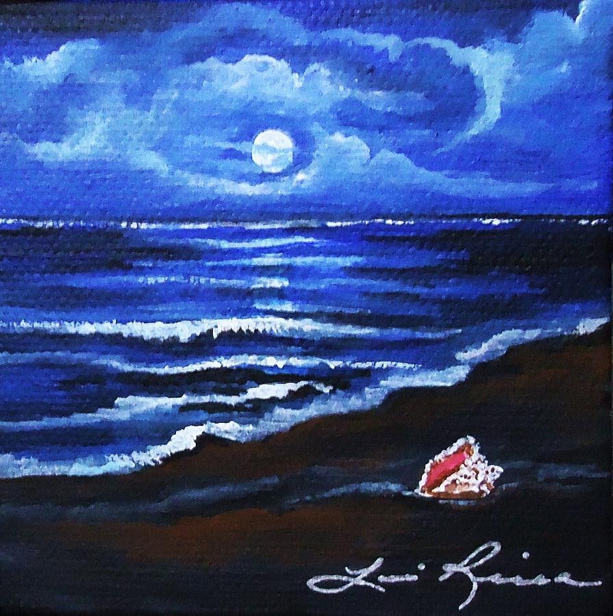 moonlit beach scene painting by lois rivera