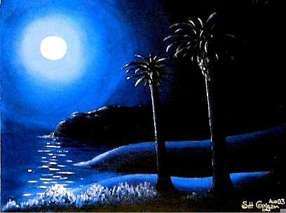 Moon Painting - Moonlit Beach by David Corrigan