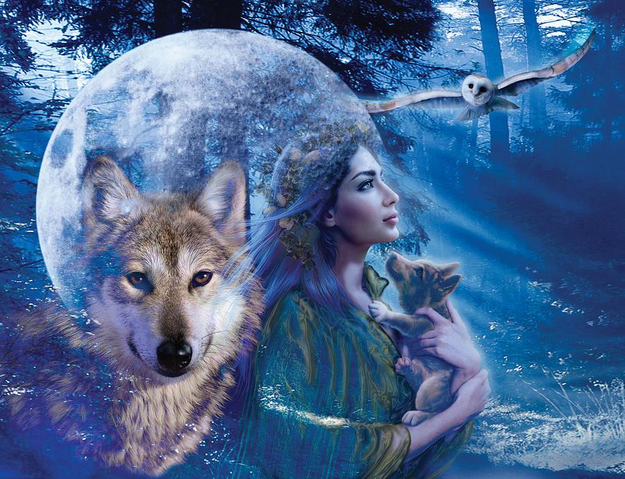 Wolf Photograph - Moonlit Brethren Variant 1 by Andrew Farley