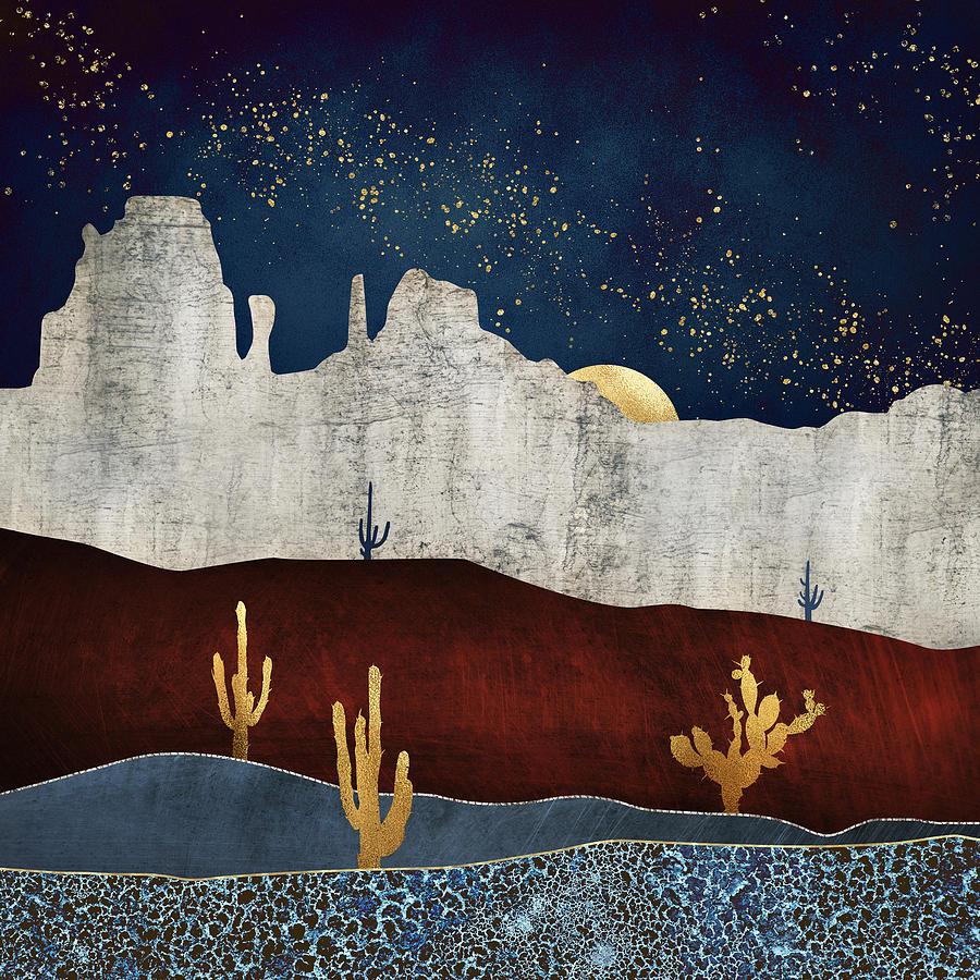 Digital Digital Art - Moonlit Desert by Spacefrog Designs