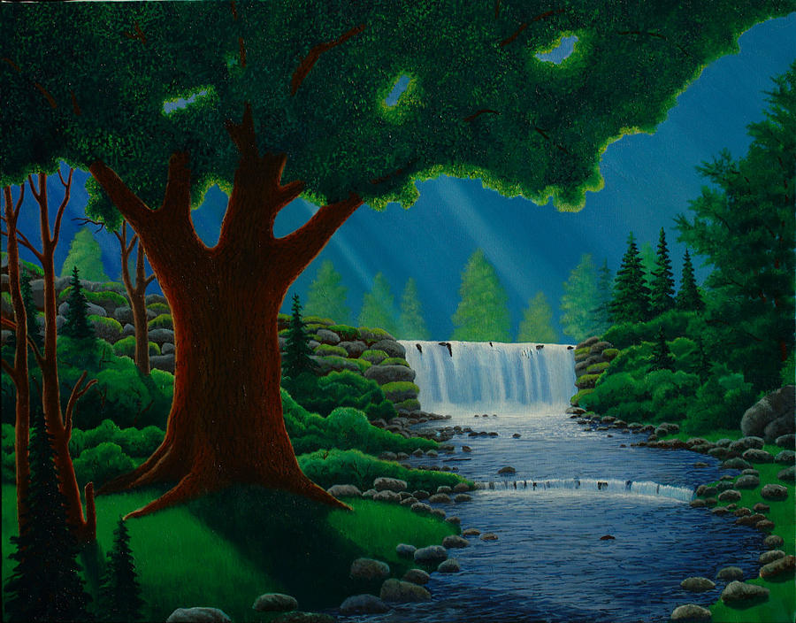 Tree Painting - Moonlit Falls by Mark Regni