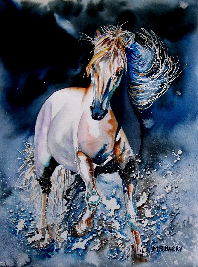 White Horse Painting - Moonlit Gallop by Maria Barry