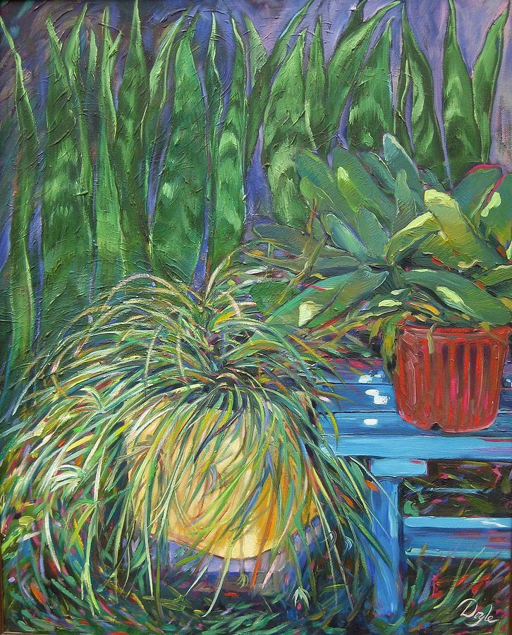 Spider Plant Painting - Moonlit Garden by Karen Doyle