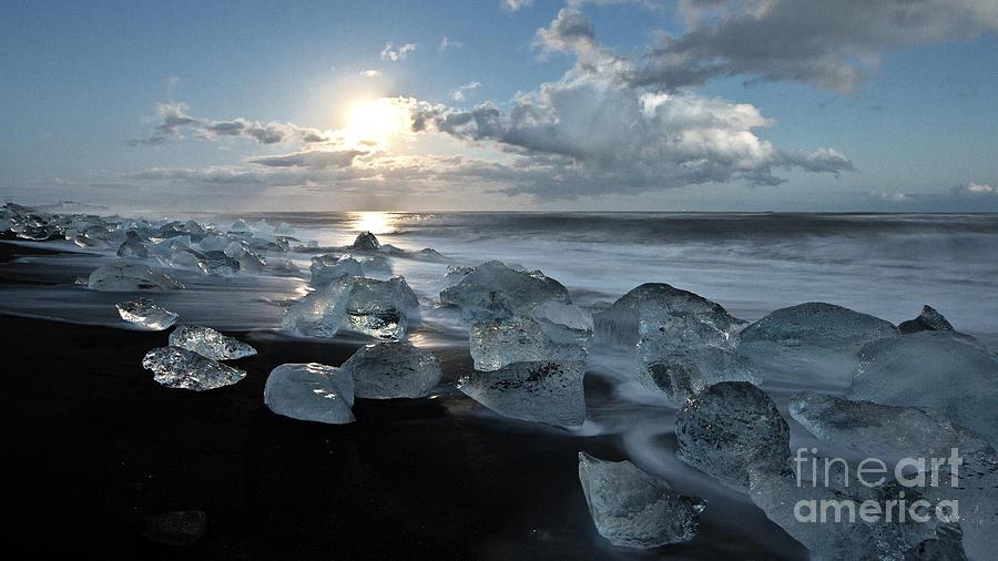 Iceland Photograph - Moonlit Ice Beach by Roddy Atkinson