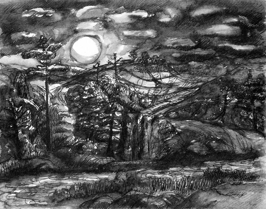Moonlit landscape by Wendy Le Ber