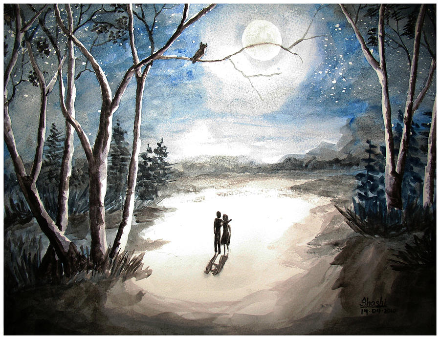 Moonlit Night Sweet Memory Painting by Shashikanta Parida
