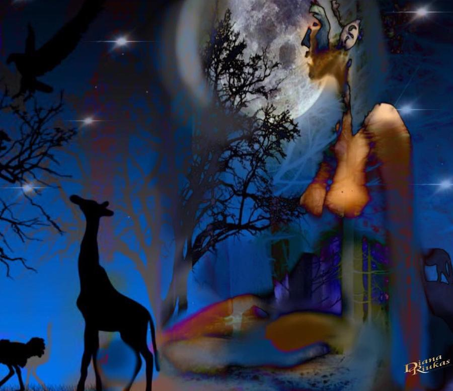 Moonlit  Nude with Giraffe by Diana Riukas