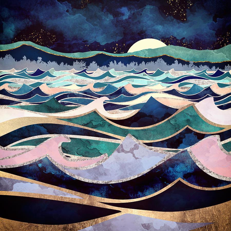 Ocean Digital Art - Moonlit Ocean by Spacefrog Designs