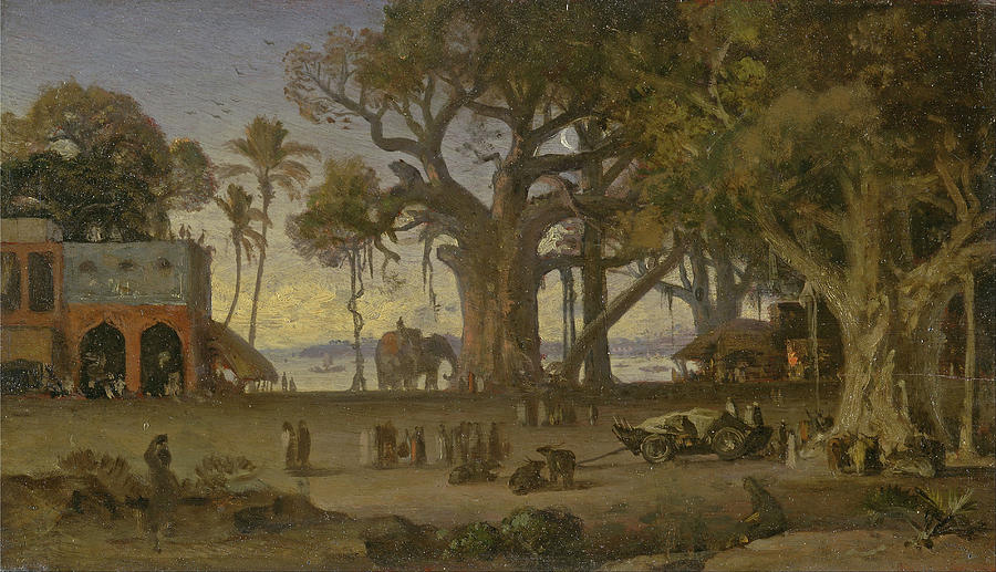 Famous Paintings Painting - Moonlit Scene Of Indian Figures And Elephants Among Banyan Trees. Upper India by Auguste Borget