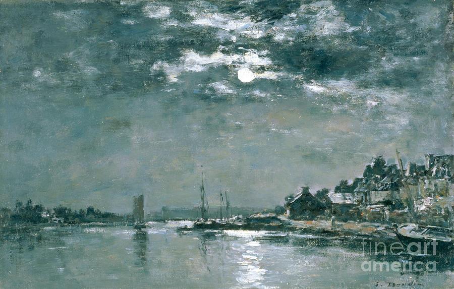 Moonlit Painting - Moonlit Seascape by Eugene Louis Boudin