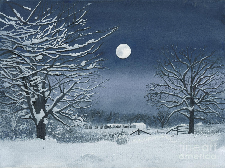 Moon Painting - Moonlit Snowy Scene On The Farm by Conni Schaftenaar