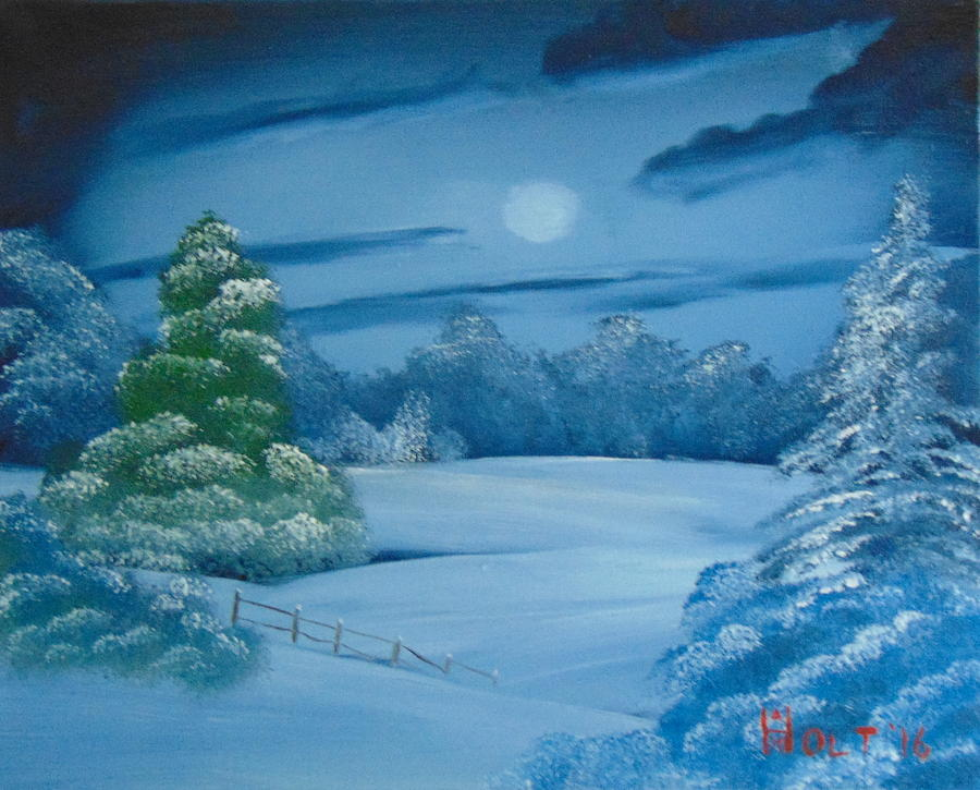 Bob Ross Style Painting - Moonlit Tranquility by Alan K Holt