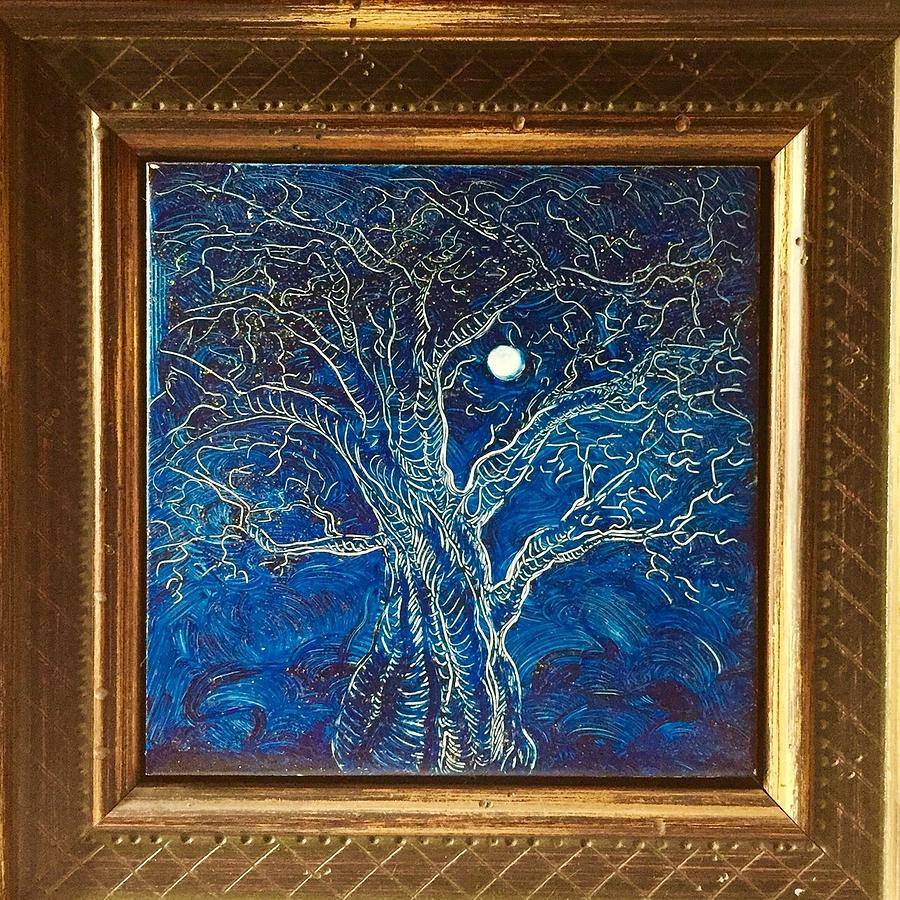 Etching Painting - Moonlit tree by Karen Doyle