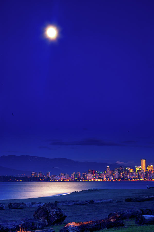 Moon Photograph - Moonlit Vancouver by Paul Kloschinsky