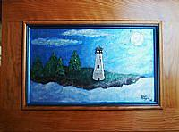 Maine Painting - Moonlite  Lighthouse   Recycled Art      by Susan Begin