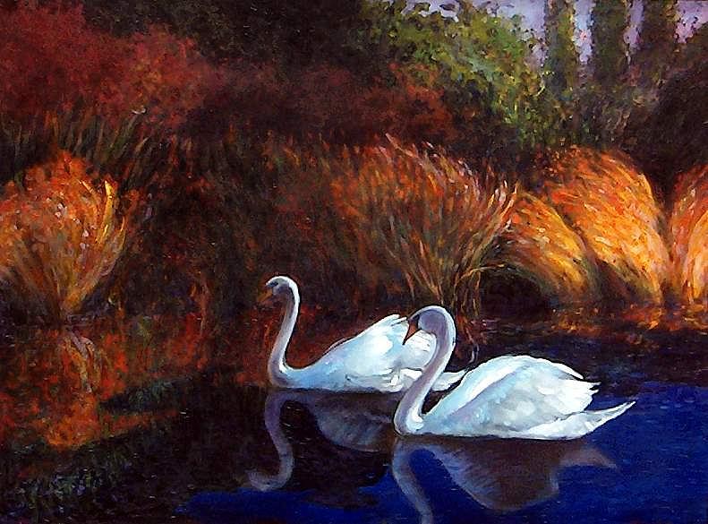 Painting Painting - Moonlite Swim by Robert Walker