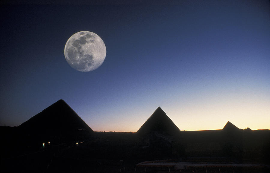 Pyramid Photograph - Moonrise Above Giza Pyramids In Egypt by Richard Nowitz