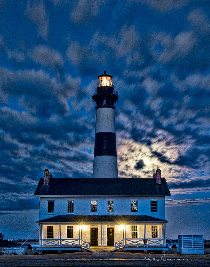 Moonrise At Bodie Island Light 5061 Photograph
