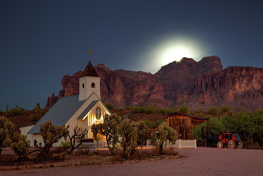 Moonrise Photograph - Moonrise At Superstition Mountain by Trish VanHousen