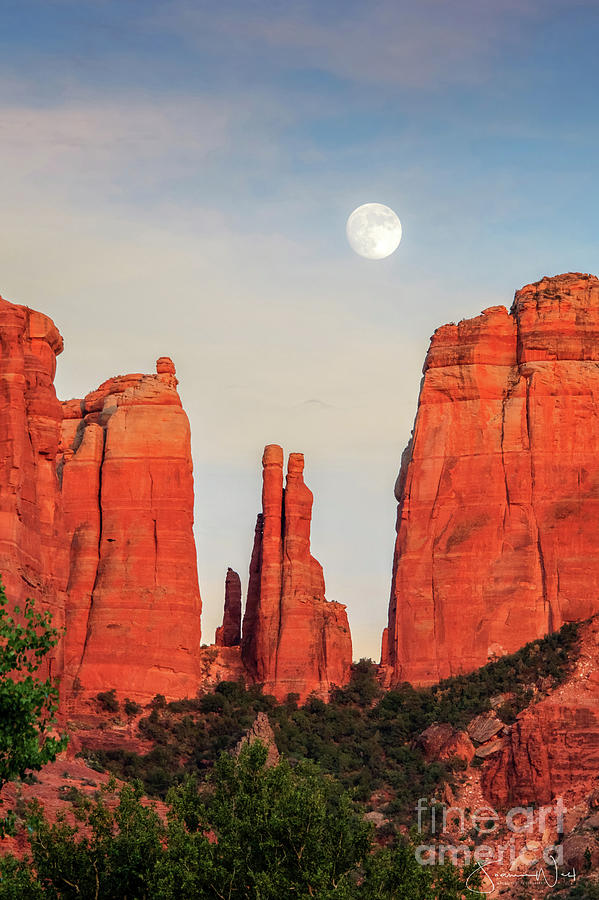 Moonrise Cathedral Rock Sedona by Joanne West