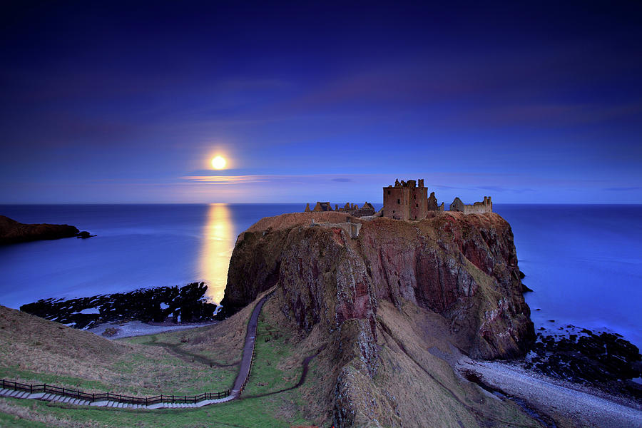 Horizontal Photograph - Moonrise Dunnottar Castle Aberdeenshire Scotland by Angus Clyne
