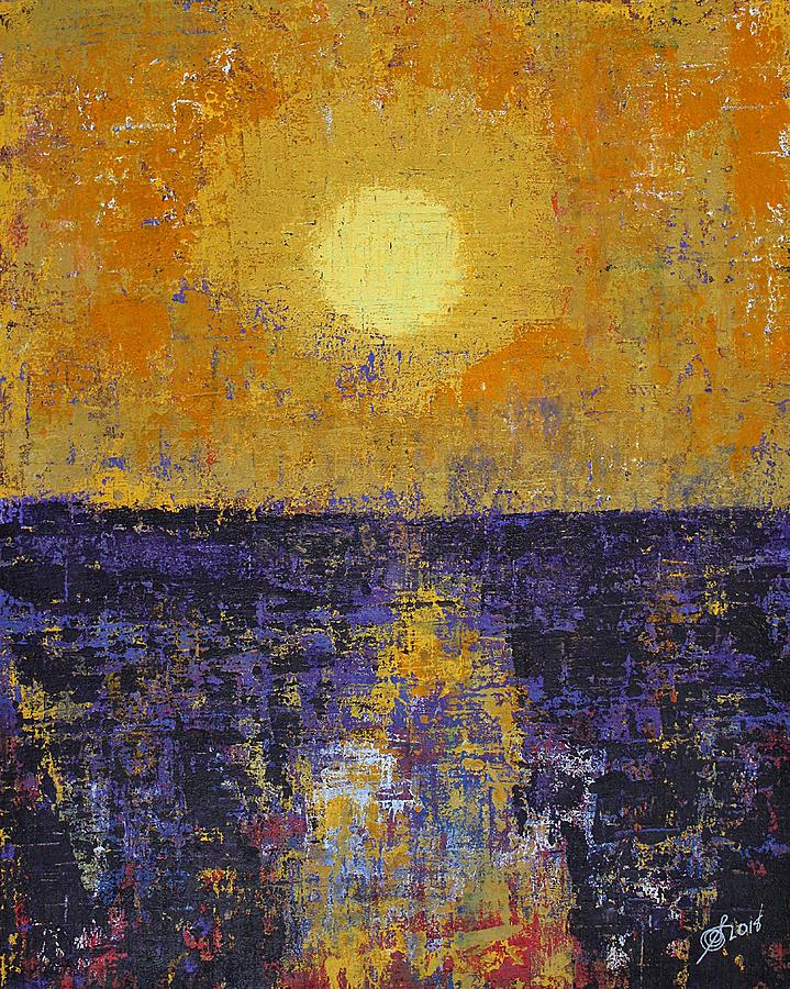 Moonrise over Coligny original painting by Sol Luckman