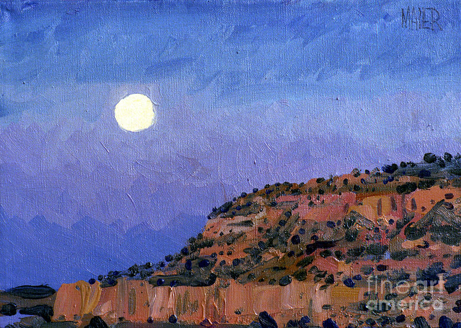 Moonrise Painting - Moonrise Over Gallup by Donald Maier