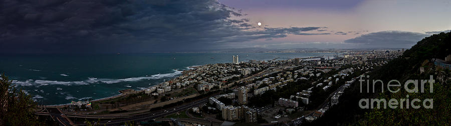 Moonrise Photograph - Moonrise Over Haifa Bay by Nadya Ost