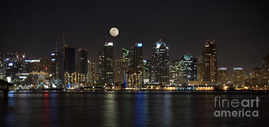 Panorama Photograph - Moonrise Over San Diego by Sandra Bronstein