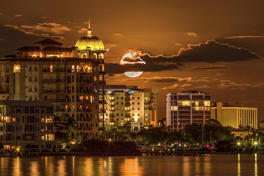 Sarasota Bay Photograph - Moonrise Over Sarasota by Richard Goldman