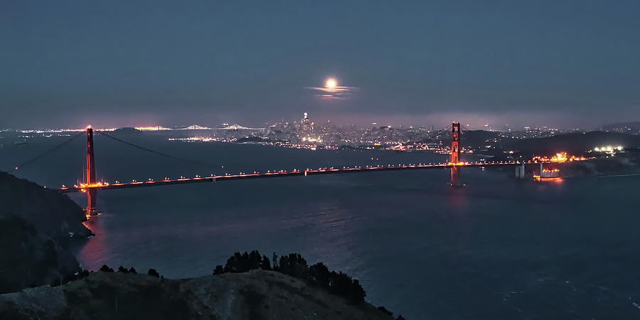 Moonrise over the Golden Gate by Harold Rau