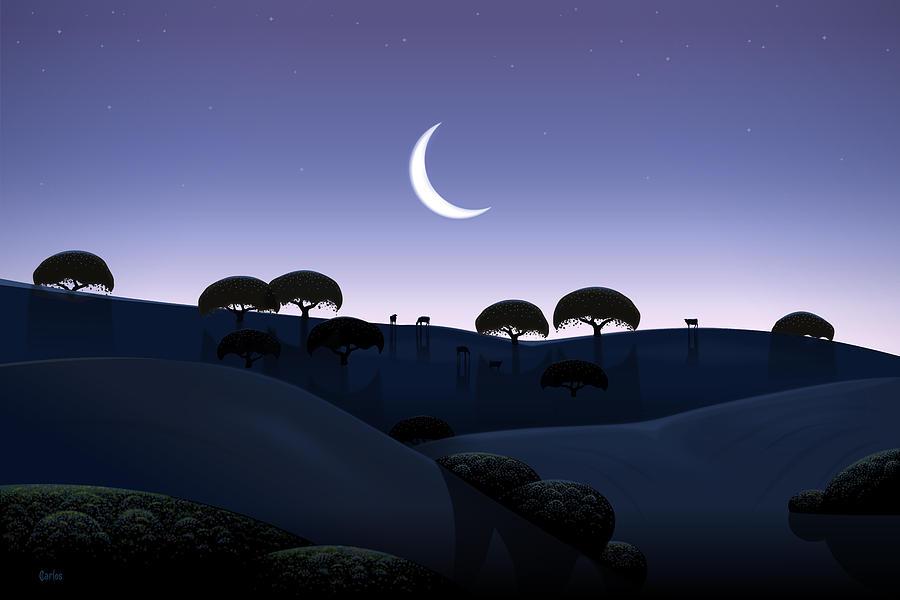 Landscape Digital Art - Moonrise by Tom Carlos