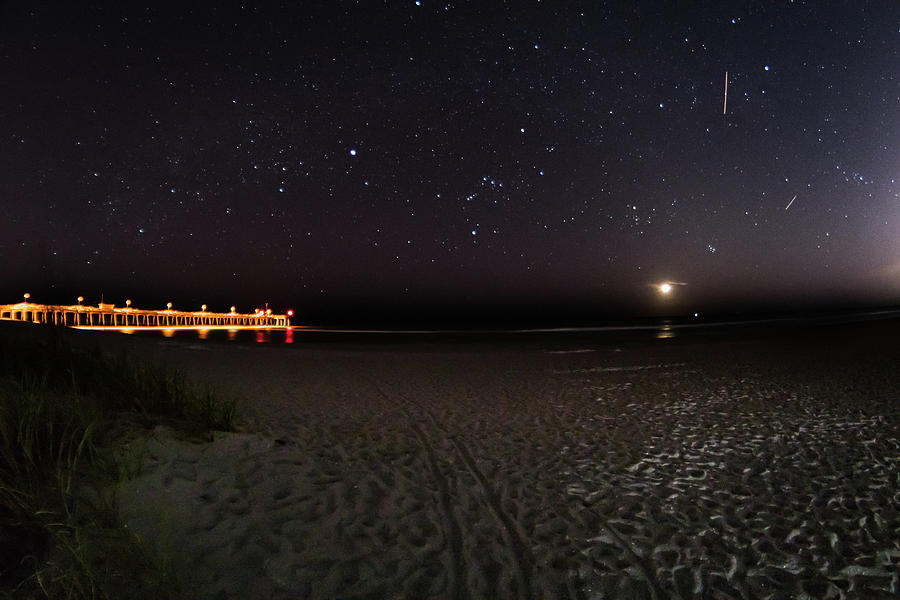 Nature Photograph - Moonset at the Pier by Don Miller