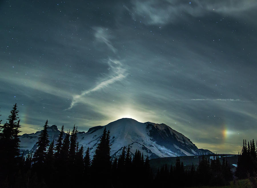 Mt Rainier Photograph - Moonset On Mt. Rainier by Angie Vogel